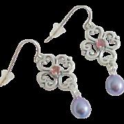 Pink Tourmaline & Cultured Freshwater Pearl Earrings