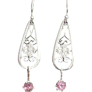 Maine Pink Tourmaline & Filigree Drop Earrings in Sterling Silver