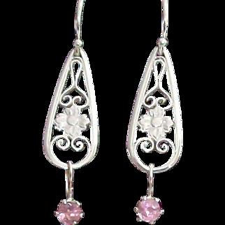 Maine Pink Tourmaline & Filigree Drop Earrings in Sterling Silver
