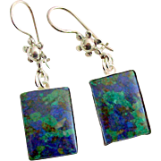 Azurite Malachite Earrings in Sterling Silver