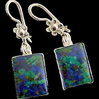 Azurite Malachite Earrings in Sterling Silver
