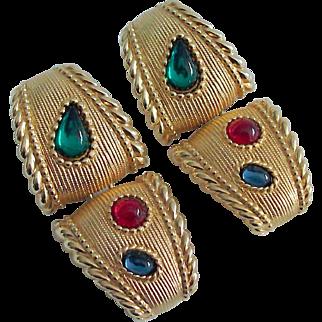 Early Swarovski Earrings With Jewel Tone Cabs