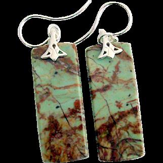 African Opal Earrings in 925 Sterling Silver