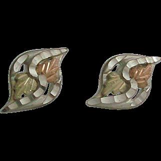 Black Hills Gold & Sterling Silver Earrings, Pierced