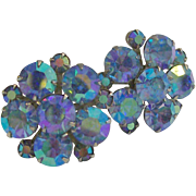 Weiss Blue Aurora Borealis Rhinestone Earrings