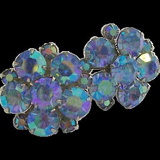 Weiss Blue Aurora Borealis Rhinestone Earrings