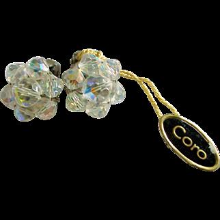 Coro Austrian Beaded Earrings With Original Tag