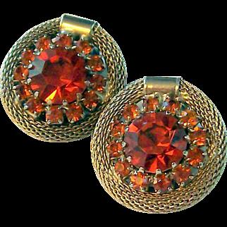 Weiss Rhinestone & Mesh Earrings