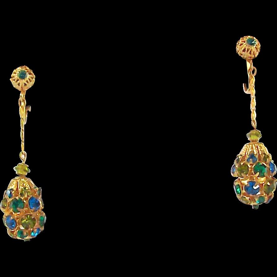 Rhinestone Earrings Vintage 100