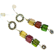 Tourmaline Cubes & Sterling Silver Earrings