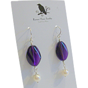 Amethyst & Cultured Freshwater Pearl Earrings