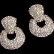 Roman Signed Rhinestone Doorknocker Earrings