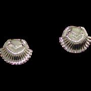 Coro Signed Scalloped Silver-tone Earrings