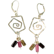 Tourmaline and Hammered 925 Sterling Silver Earrings