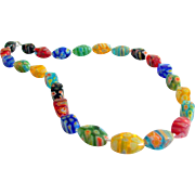 Millefiori Glass Bead & Sterling Silver Necklace
