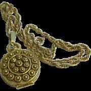 Signed Goldette Locket & Chain Necklace