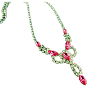 Pink Marquise & Clear Rhinestone Necklace