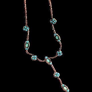 Park Lane Blue Rhinestone & Faux Moonstone Copper Color Necklace