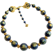 Trifari Large Blue With Golden Cat's Eyes Bead Necklace