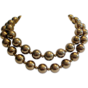 Early Carolee Chocolate Glass Faux Pearls Double Strand