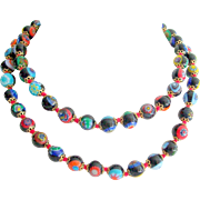 Vintage Millefiori Bead Necklace 28 inches