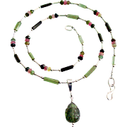 Tourmaline Necklace With Carved Tourmaline Removable Pendant