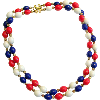 1940's Crown Trifari Double Strand Necklace