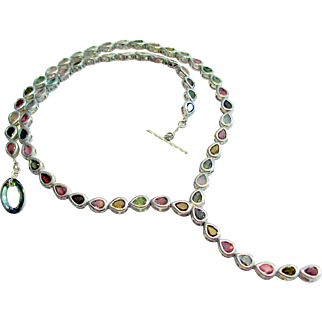 Tourmaline Pears in Sterling Silver Necklace 20""