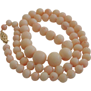 Angel Skin Coral Necklace 14kt Yellow Gold