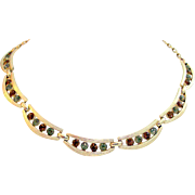 Signed Coro & Rhinestone Swag Necklace