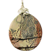 Picture Stone Wire Wrapped in 925 Sterling Silver