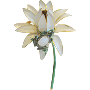 Signed Sandor Flower With Frog & Glass Faux Moonstone Pin