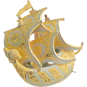 Damascene Ship Pin Signed