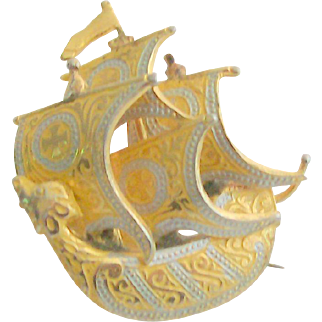 Damascene Ship Pin Signed