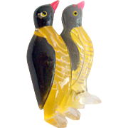 Lucite Penguin Pair Pin 1940's