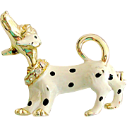 Rhinestone & Enamel Dog Pin with Moving Head