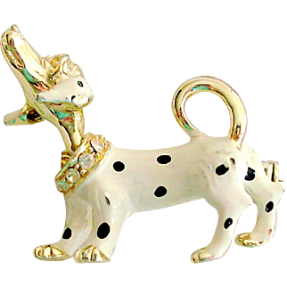 Rhinestone & Enamel Dog Pin with Moving Head