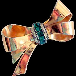 Coro Rhinestone Bow Pin