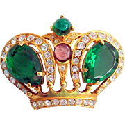 Crown Trifari Rhinestone Crown Brooch