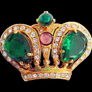 Crown Trifari Rhinestone Crown Brooch