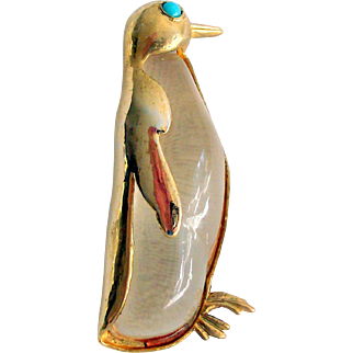 Crown Trifari Signed Jelly Belly Penguin Brooch