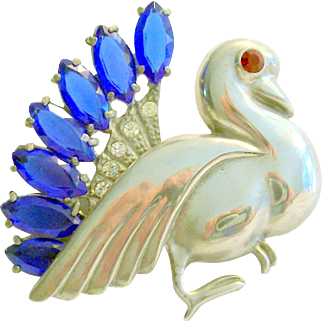 Rare Coro Craft Rhinestone Bird Brooch 1935-1940