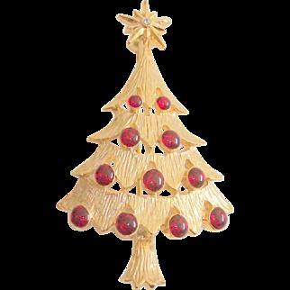 Signed Christmas Tree With Cabochons & Rhinestone