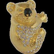 Kenneth Jay Lane Rhinestone Koala Tie/Pin/Scarf Clip
