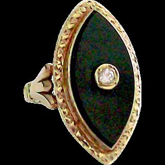 Diamond & Black Onyx Ring 14 kt Yellow Gold