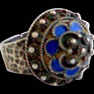 1960's Tibetan Style Sterling Silver & Enamel Ring