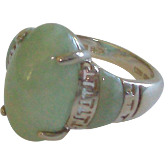 Natural Jade Ring in Sterling Silver Size 9 1/2