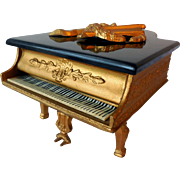 Vintage Grand Piano Music Keepsake Box, Gilt Metal, Bakelite