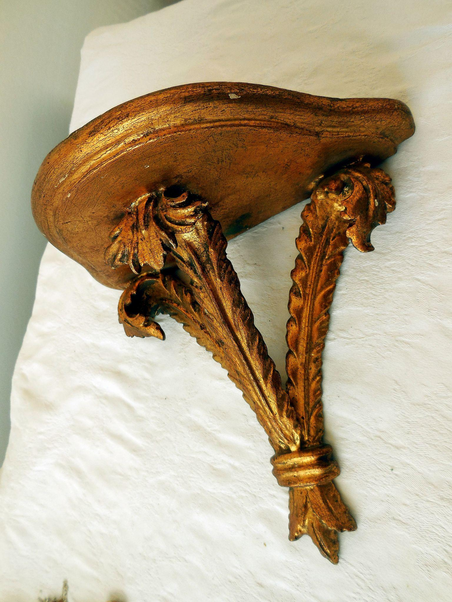 Vintage carved wood gilt wall shelf sconce from snatreasures on roll over large image to magnify click large image to zoom amipublicfo Gallery