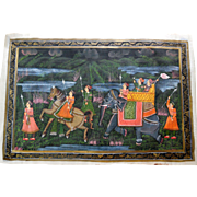 Antique Paintings on Silk from India, a Pair